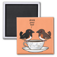 Eastern Towhee: Drink Your Tea! Square Magnet
