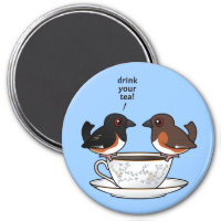 Eastern Towhee: Drink Your Tea! Round Magnet