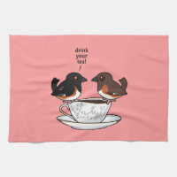 Eastern Towhee: Drink Your Tea! Kitchen Towel 16