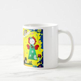 drinkbeker met grappig klein engeltje in geel coffee mug