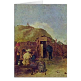 Drinkers In The Yard By Adriaen Brouwer Greeting Card