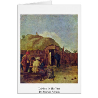 Drinkers In The Yard By Brouwer Adriaen Greeting Card