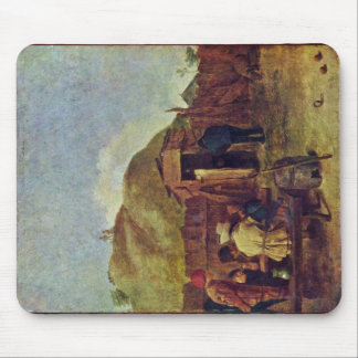 Drinkers In The Yard By Brouwer Adriaen Mousepad
