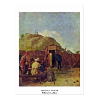 Drinkers In The Yard By Brouwer Adriaen Postcard