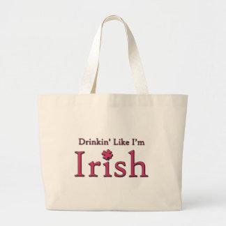 Drinkin como soy irlandés bolsa tela grande