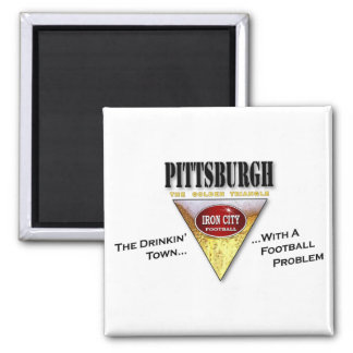 Drinkin' Town with a Football Problem 2 Inch Square Magnet