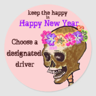 Drinking and Driving Skull Classic Round Sticker