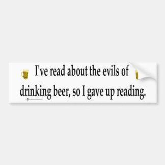 drinking beer car bumper sticker