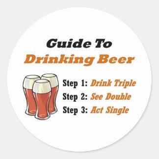 Drinking Beer Full Classic Round Sticker