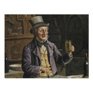 Drinking Beer Painting Postcard
