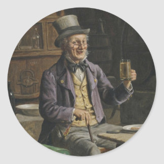 Drinking Beer Painting Classic Round Sticker