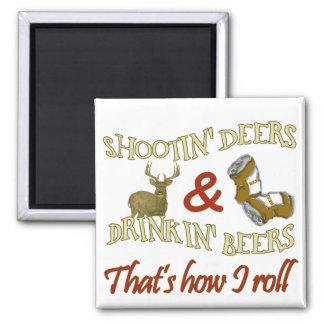 Drinking Beer Shooting Deer 2 Inch Square Magnet