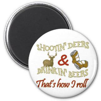 Drinking Beer Shooting Deer Magnets