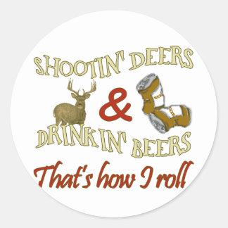 Drinking Beer Shooting Deer Stickers