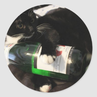 Drinking Cat Classic Round Sticker