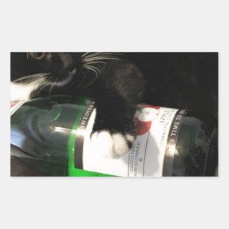 Drinking Cat Rectangular Sticker
