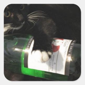 Drinking Cat Square Sticker