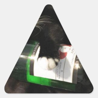 Drinking Cat Triangle Sticker