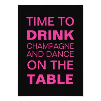 Drinking Champagne in Fuchsia 21st Birthday Invite