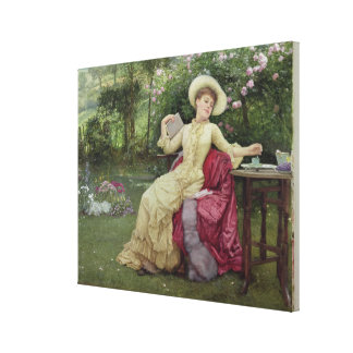 Drinking Coffee and Reading in the Garden (w/c on Canvas Print
