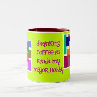 , Drinking coffee i...-: Two-Tone Mug