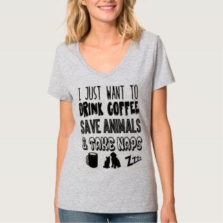Drinking Coffee & Saving Animals T-Shirt