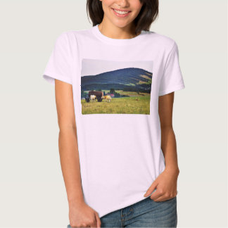 Drinking Cows On Pasture With A Hill In The Backgr T-shirts