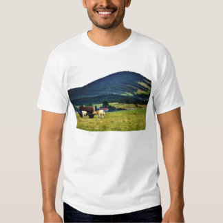 Drinking Cows On Pasture With A Hill In The Backgr Tees