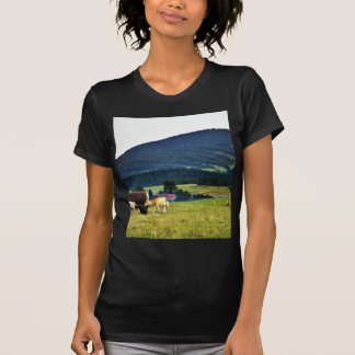 Drinking Cows On Pasture With A Hill In The Backgr Tshirts