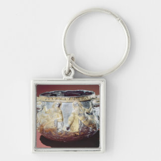 Drinking cup depicting Scythian soldiers Silver-Colored Square Keychain