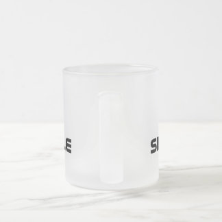 Drinking double 10 oz frosted glass coffee mug