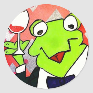 Drinking Frog Coasters Classic Round Sticker