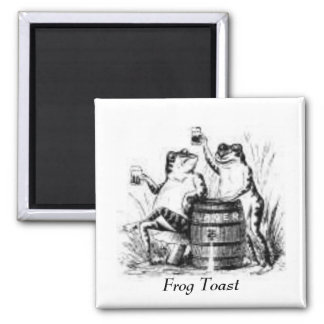 Drinking Frogs 2 Inch Square Magnet