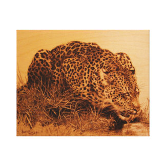 Drinking Leopard by Erik Brush Canvas Prints