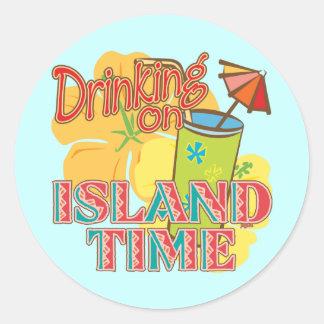 Drinking on Island Time Classic Round Sticker