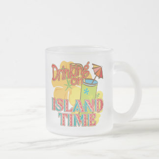 Drinking on Island Time Frosted Glass Coffee Mug