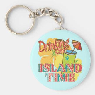 Drinking on Island Time Basic Round Button Keychain