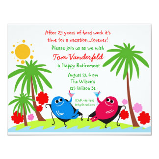 Drinking on the Beach Retirement Party Invitation