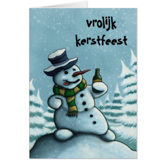 drinking snow man Christmas note card Netherlands