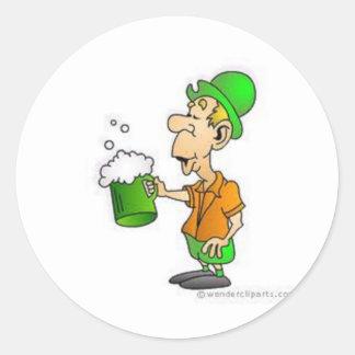 drinking st patricks design classic round sticker
