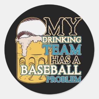 Drinking Team Baseball Classic Round Sticker