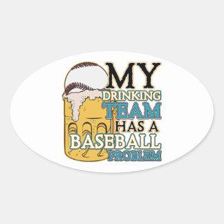 Drinking Team Baseball Oval Sticker