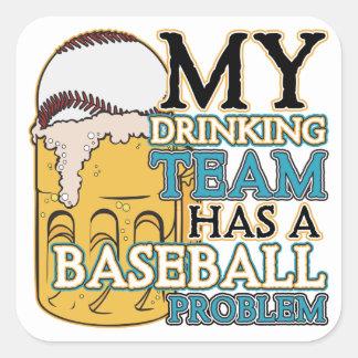 Drinking Team Baseball Square Sticker