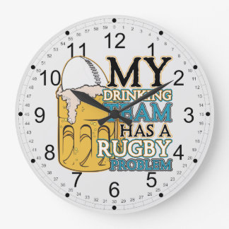 Drinking Team Rugby Round Wall Clock
