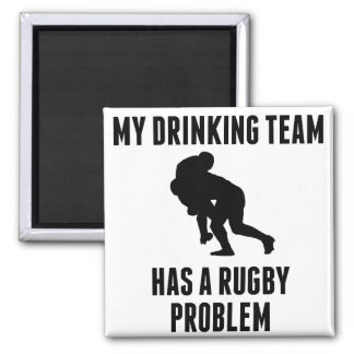 Drinking Team Rugby Problem 2 Inch Square Magnet