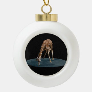 DRINKING THE MOON CERAMIC BALL CHRISTMAS ORNAMENT