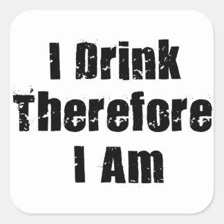 Drinking Thinker Square Sticker