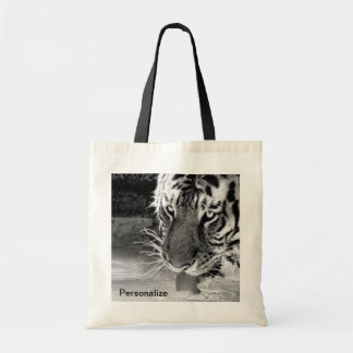 Drinking Tiger At Watering Hole Black And White Tote Bag