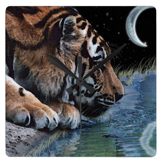 Drinking Tiger Big Cat Art Animal-lover Wall Clock