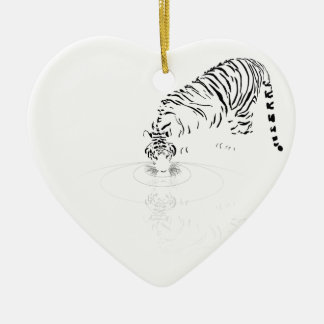 Drinking Tiger Ceramic Ornament
